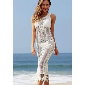 White crochet lace beach Coverup